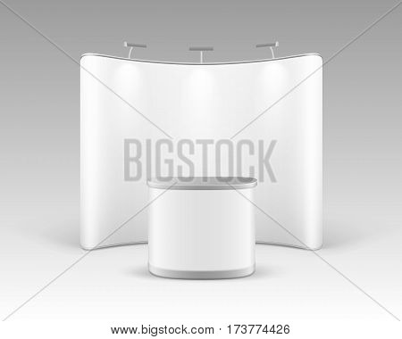 Vector White Blank Trade Exhibition Pop Up Stand for Presentation with Promotion Counter Table and Backlights Isolated on White Background