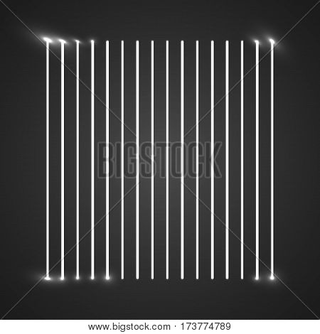 Glowing whit vector stripes on black background. Abstract illustration.