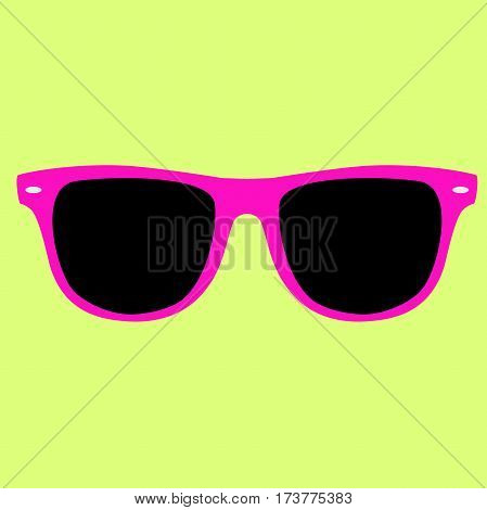 Hipster pink color sunglasses isolated vector on a yellow background.