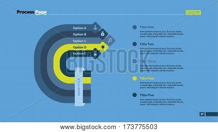 Five options process chart slide template. Business data. Set, diagram, design. Creative concept for infographic, presentation. Can be used for topics like management, strategy, training.