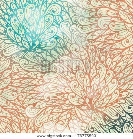 Hand drawn gradient blue and pink floral invitation card design with swirls and leaves