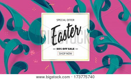 Festive frame decorated with abstract floral elements. Limited offer 60 percent off. Special design for Mother's day, 8 March and Easter. Vector card with purple background