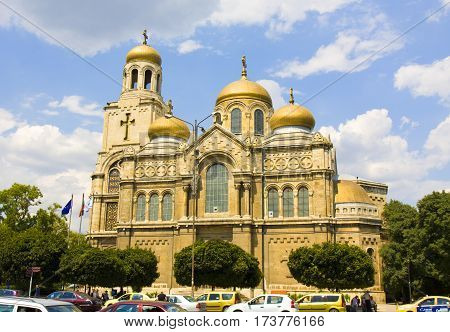 VARNA BULGARIA - AUGUST 14 2016: cathedral of Assumption of the Virgin Mary.