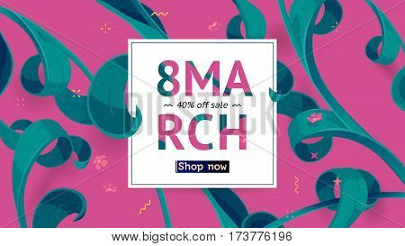 Festive frame decorated with abstract floral elements. Limited offer 40 percent off. Special design for Mother's day, 8 March and Easter. Vector card with purple background
