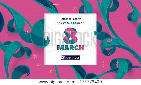 Festive frame decorated with abstract floral elements. Limited offer 30 percent off. Special design for Mother's day, 8 March . Vector card with purple background