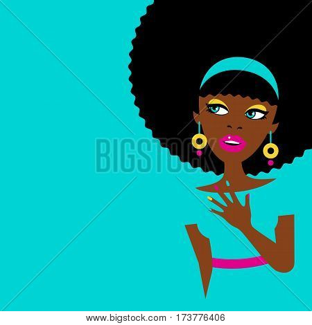 Sexy surprised african american woman with open mouth and big earrings and colorful nails looking to the side. Vector flat illustration in retro comic style.