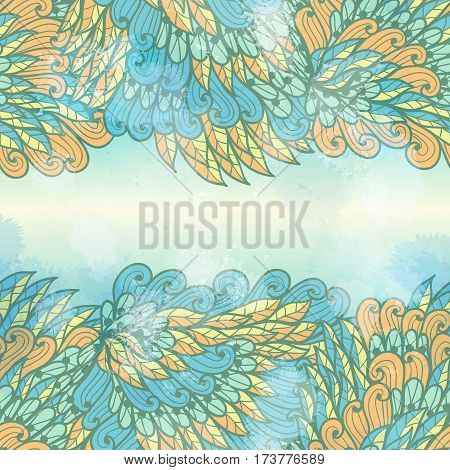 Hand drawn seamless blue and orange elegant invitation card design with swirls
