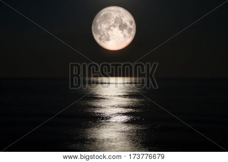 Moon Sea Full Moon Sky Moonlight Night