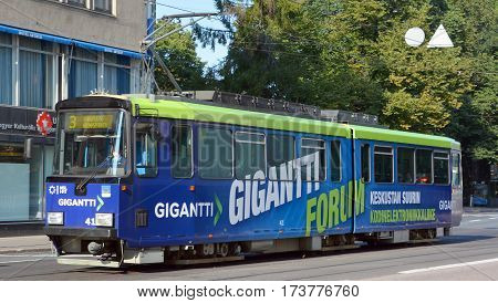 HELSINKI FINLAND SEPTEMBER 25 2015: Helsinki tram network forms part of the Helsinki public transport system organised by Helsinki Regional Transport Authority and operated by Helsinki City Transport