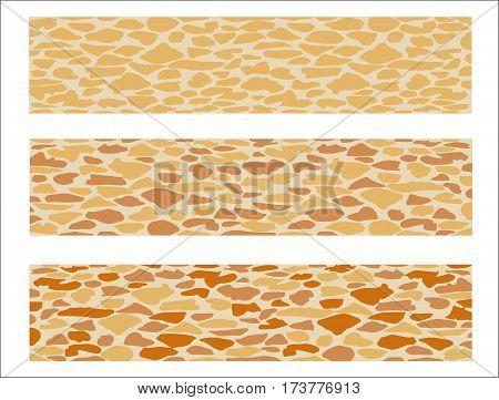 Set of paving slab for landscape designing. Different options of sidewalk tiles.  Vector illustration. Horizontal  location. Landscaping design.