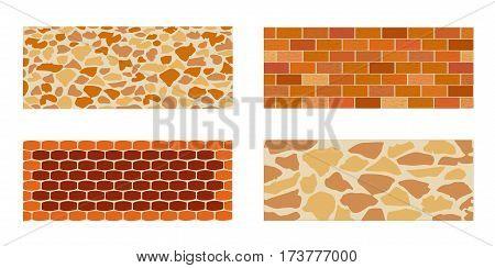 Set of paving slab and bricks for landscape designing. Different options of masonry. Vector illustration. Horizontal  location. Landscaping design.