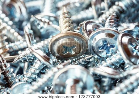 pile of Silver Screws Macro Closeup Background