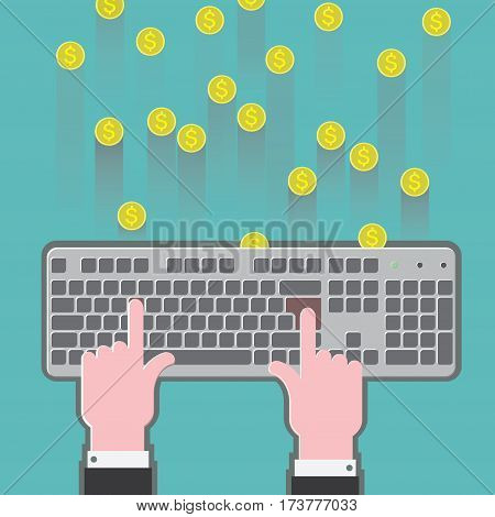 vector illustration depicting a keyboard on which the printed hands and earn money