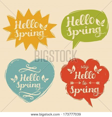 Vector illustration typography Say Hello To Spring set in speech bubbles. Inspirational hand lettering typography background.