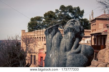 Male statue in the  town of  Toledo Spain