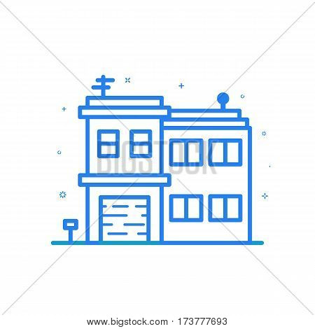 illustration of flat line home icon. Graphic design concept of houses to rent. Blue outline isolated object.