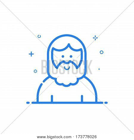 illustration of blue icon in flat line style. Linear cute and smiling hipster man with beard. Graphic design concept of avatar use in Web Project and Applications Outline isolated object.