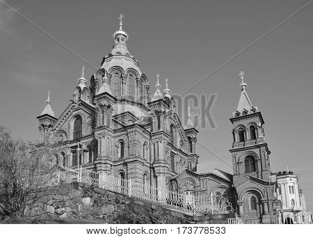 HELSINKI FINLAND SEPTEMBER 26 2105: Uspenski Cathedral is an Eastern Orthodox cathedral in Helsinki, Finland, dedicated to the Dormition of the Theotokos (the Virgin Mary).