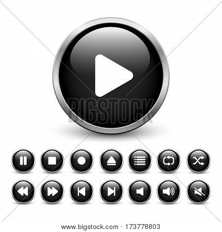 Set of black media player buttons with metal frame and shadow