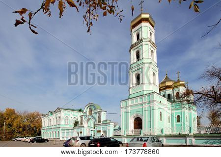 PERM RUSSIA-SEPTEMBER 23 2015: Holy Trinity Cathedral in autumn day. Russia. Perm.