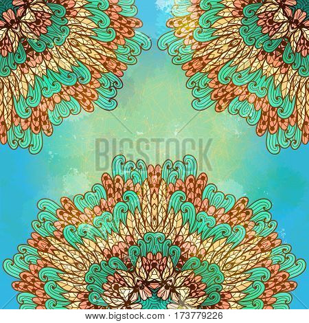 Hand drawn ethnic floral blue and beige grunge ornament