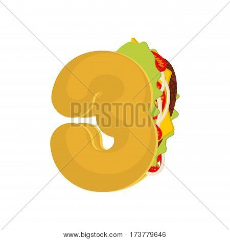 Number 3 Tacos. Mexican Fast Food Font Three. Taco Alphabet Symbol. Mexico Meal Abc