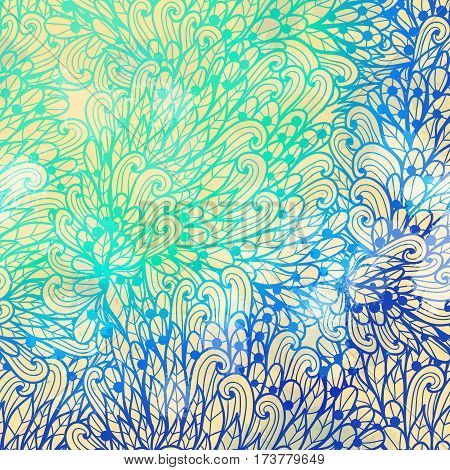 Hand drawn gradient blue floral invitation card design with swirls and leaves