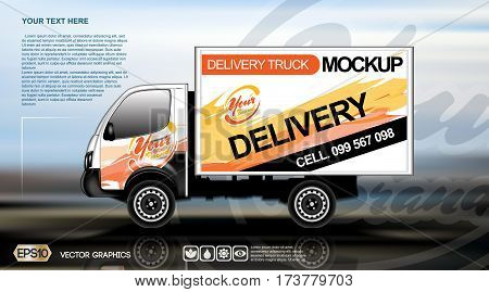 Digital vector white realistic vehicle car mockup, ready for your logo and design . Template for advertising and corporate identity. Food delivery. Illustrated vector. Mockup