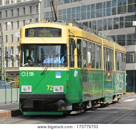 HELSINKI FINLAND SEPTEMBER 25 2015: Tram network forms part of the Helsinki public transport system organised by Helsinki Regional Transport Authority and operated by Helsinki City Transport