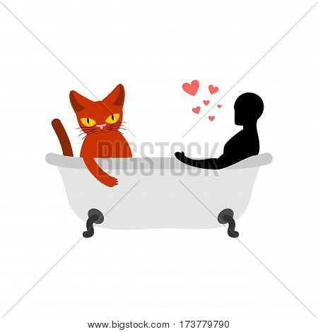 Cat Lover In Bath. My Kitty.  Passion Feelings Among Lovers. Joint Bathing.  Pet And Guy. Romantic D