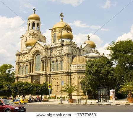 VARNA BULGARIA - AUGUST 14 2015: main orthodox cathedral of the town Assumption of the Virgin Mary built in 1886 year.
