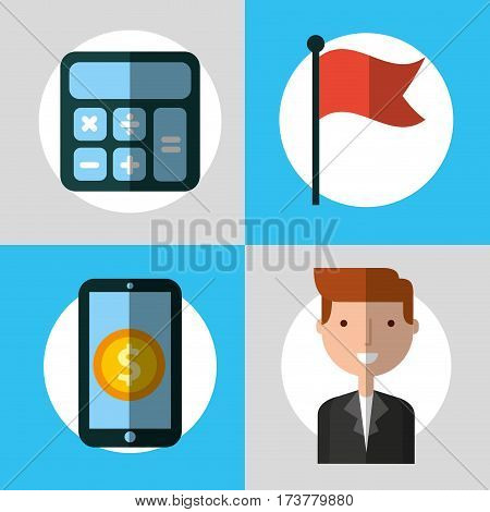 businessperson with financial icons vector illustration design