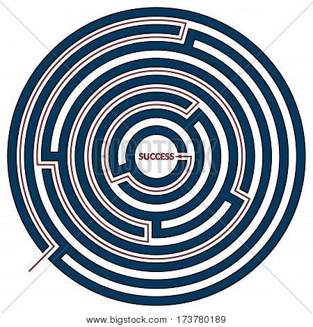 Vector illustration of round maze with the solution as a red line to success. Circle labyrinth isolated on white background.