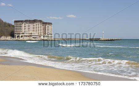 SAINT CONSTANTINE AND HELENA BULGARIA - APRIL 10 2015: Appart complex Port Palace . Saint Constantine and Helena is the oldest first sea resort of Bulgaria exists from 19 century.
