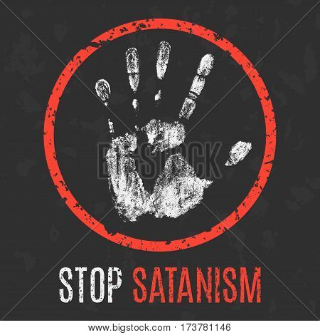 Vector illustration. Social problems of humanity. Stop satanism.