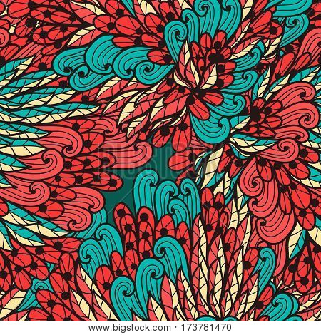 Seamless floral vinage red and blue hand drawn doodle pattern