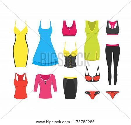 Collection of woman clothes for different occasions. Cocktail and casual dress t-shirt sport wear sexy underwear corset skirt panties. Modern flat design. Vector illustration on white background