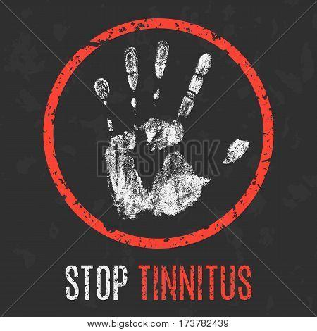 Conceptual vector illustration. Human sickness. Stop tinnitus.