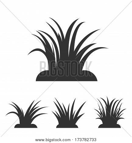Vector Set of Green Grass Elements, gardening elements vector stock.