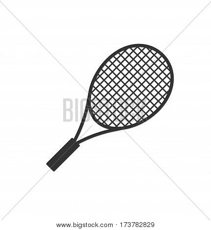 Black tennis racket isolated on white background. Racket vector stock.