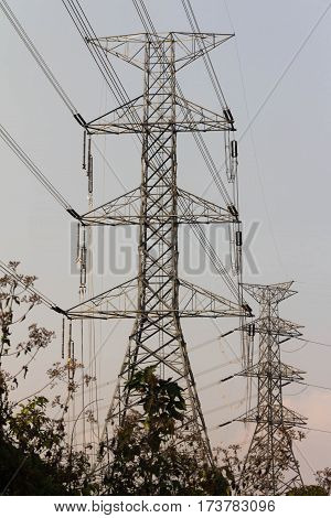 the electricity post cable construction for industry network power supply technology transmission