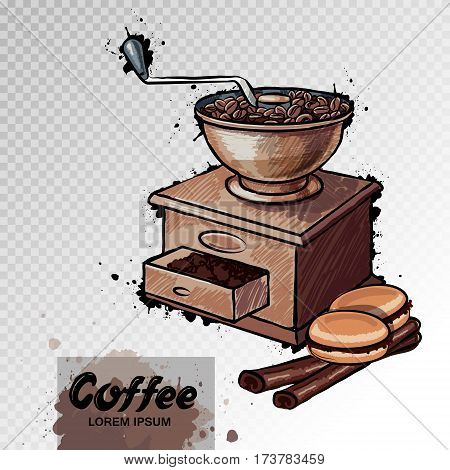 Hand Drawn Illustration Of Coffee Mill