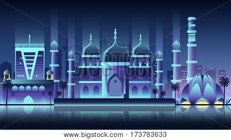 Stock vector illustration background city night neon style architecture buildings monuments town country travel printed materials, cover, India, monuments, Taj Mahal, New Delhi, Culture, Mumbai