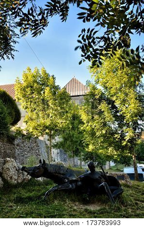 Roncesvalle, start point os Saint James way, Camino de Santiago, statue of Roland