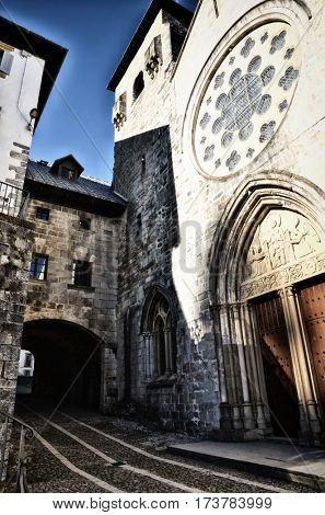 Royal Collegiate Church of Roncesvalles Navarre Spain St James way start point, Camino de Santiago