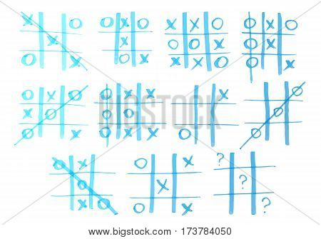 Set of tic-tac-toe drawn by marker. Vector illustration.