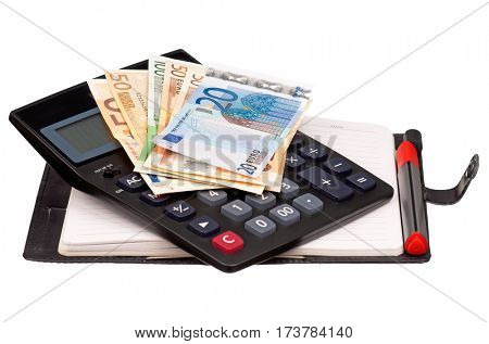 Heap of dollars and euro on notepad with calculator isolated on a white background
