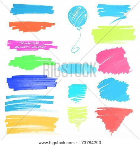 Color highlight stripes, banners drawn with japan markers. Stylish highlight elements for design. Vector highlight marker stroke, spots bright color