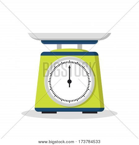 Flat store weigher. Mechanical scales for shop. Business sale objects. Measurement of grocery products. Isolated on white vector illustration.