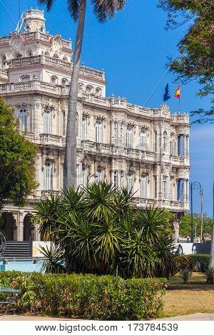 Havana, Cuba - April 1, 2012: Vintage Building Of Hispanic Embassy